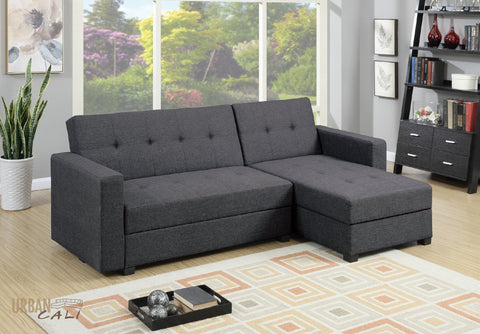 Monterey Small Sectional Sofa with Reversible Chaise In Grey Polyfiber Linen with Storage