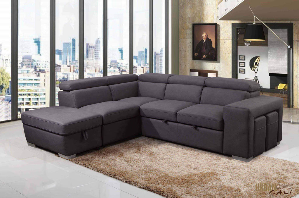 Pasadena Large Sleeper Sectional with Storage Ottoman and 2 Stools