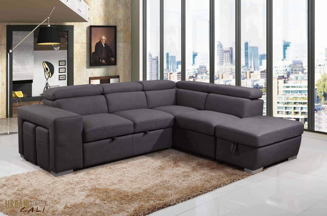 Pasadena Large Sleeper Sectional with Storage Ottoman and 2 Stools-Wholesale Furniture Brokers