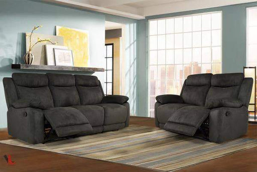 Volo Charcoal Fabric Reclining Sofa and Loveseat Set-Wholesale Furniture Brokers