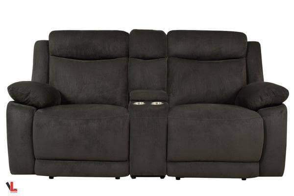Volo Charcoal Fabric Reclining Loveseat with Console