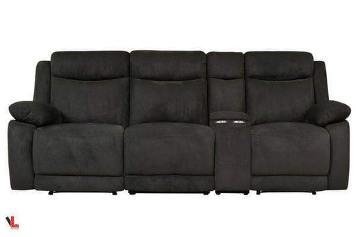 Volo Charcoal Fabric Reclining Sofa with Console-Wholesale Furniture Brokers