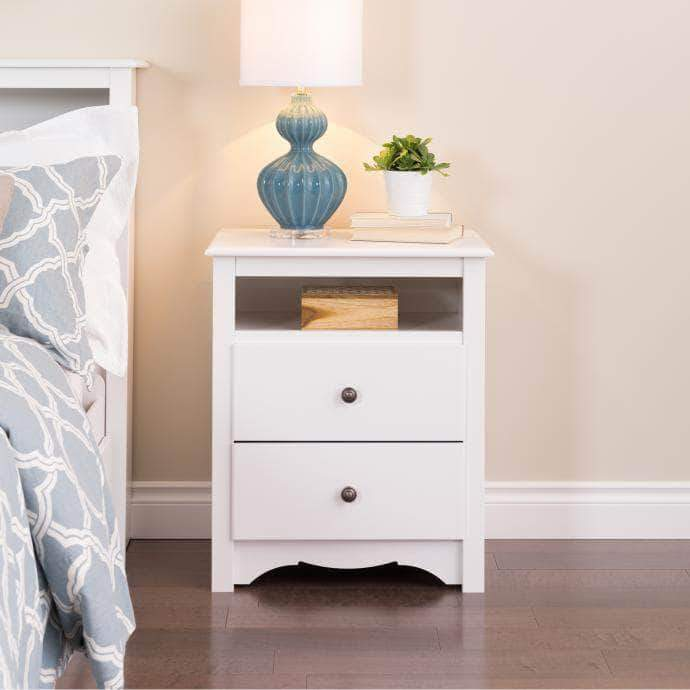 White monterey tall 2 drawer nightstand with open shelf for Cheap tall white nightstands
