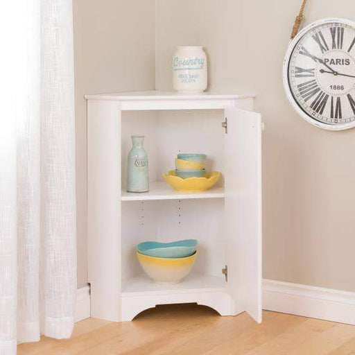 Elite White Corner Storage Cabinet-Wholesale Furniture Brokers