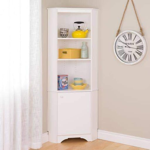 Elite White Tall One Door Corner Storage Cabinet-Wholesale Furniture Brokers