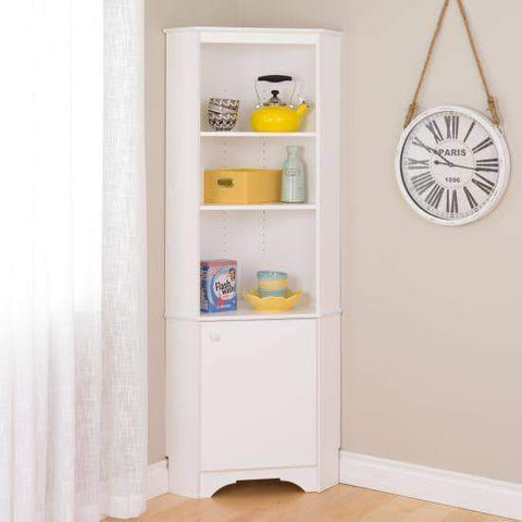 Elite-White-Tall-1-Door-Corner-Storage-Cabinet