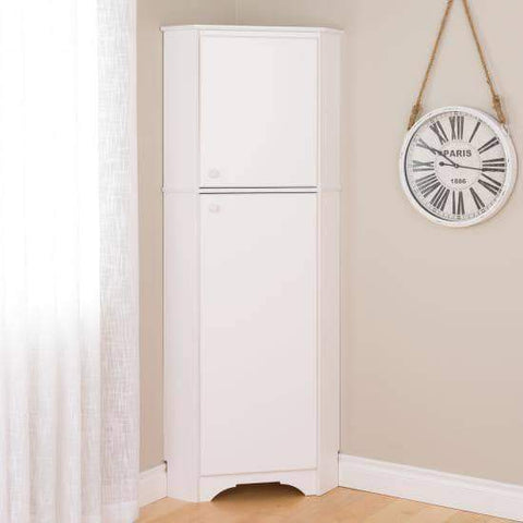 Elite-White-Tall-2-Door-Corner-Storage-Cabinet