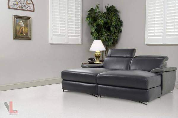 Aura Top Grain Black Leather Double Chaise Loveseat
