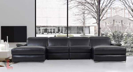 Aura Top Grain Black Leather Large U-Shaped Sectional with Double Chaises-Wholesale Furniture Brokers