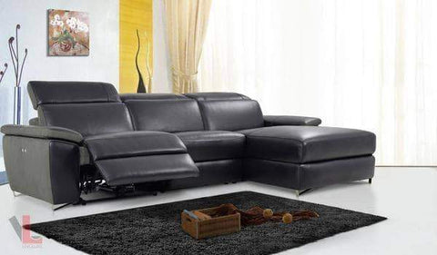 Aura Black Power Reclining Medium Sectional with Right Facing Chaise