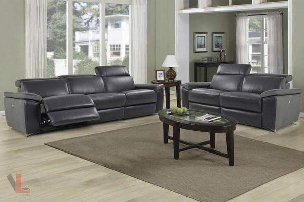 Aura Black Top Grain Leather Power Reclining 2 Piece Sofa Set-Wholesale Furniture Brokers