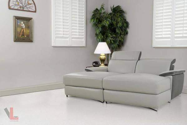 Aura Top Grain Grey Leather Double Chaise-Wholesale Furniture Brokers