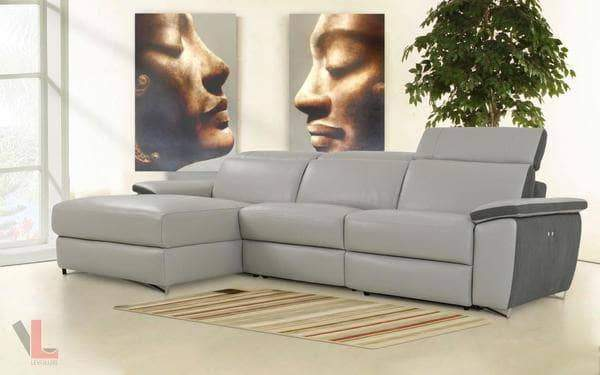 Aura Light Grey Power Reclining Medium Sectional with Left Facing Chaise-Wholesale Furniture Brokers