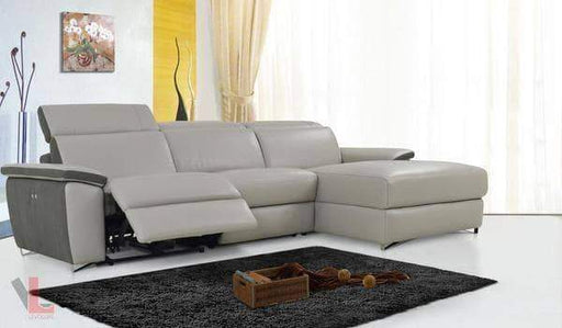 Aura Light Grey Power Reclining Medium Sectional with Right Facing Chaise-Wholesale Furniture Brokers