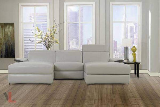 Aura Top Grain Light Grey Leather Small U-Shaped Sectional-Wholesale Furniture Brokers