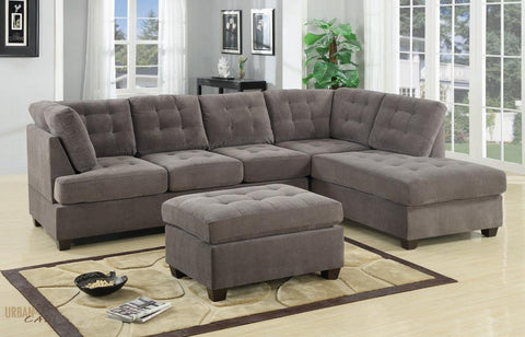 Burbank Charcoal Grey Waffle Suede Sectional Sofa with Reversible Chaise