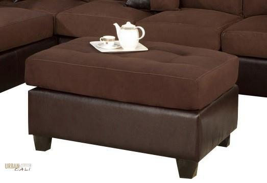 Sacramento Chocolate Microfiber Cocktail Ottoman