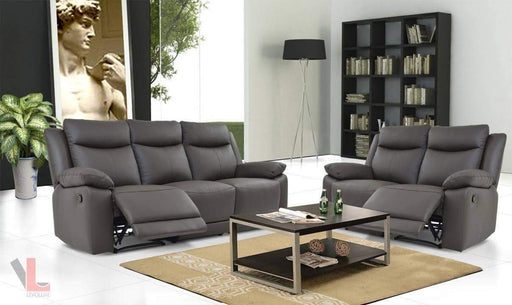 Volo Espresso Leather Reclining Sofa and Loveseat Set-Wholesale Furniture Brokers