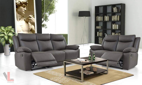 Volo Espresso Leather Reclining Sofa and Loveseat Set