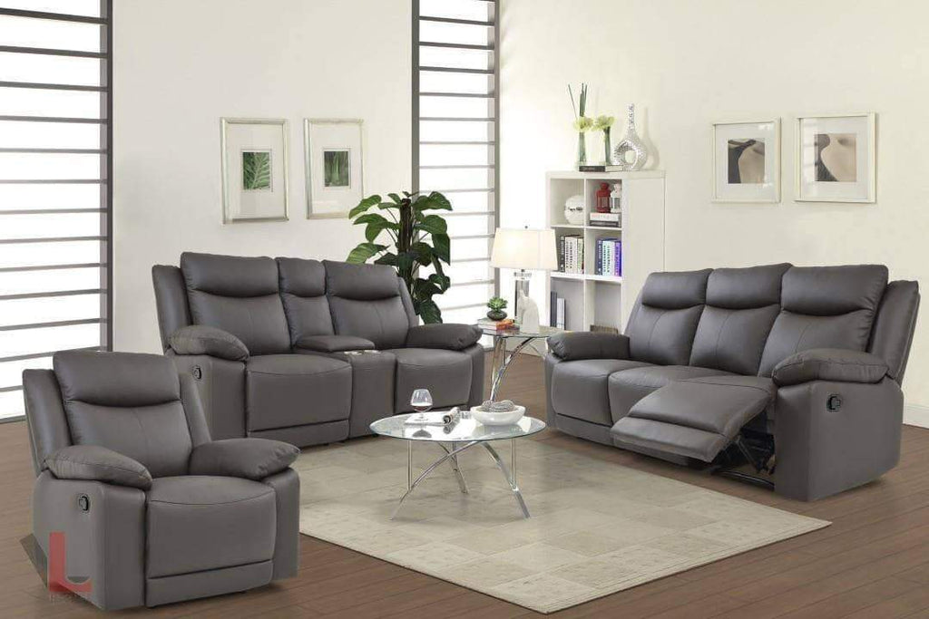 Volo Espresso Leather Reclining Sofa, Loveseat with Console, and Chair Set