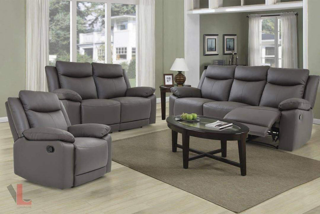 Volo Espresso Leather Reclining Sofa, Loveseat and Chair Set