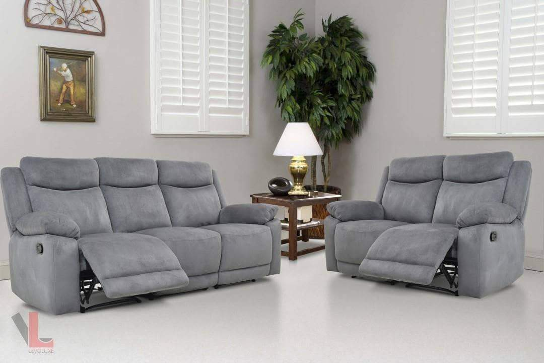 Picture of: Volo Grey Reclining Sofa And Loveseat Set Wholesale Furniture Brokers