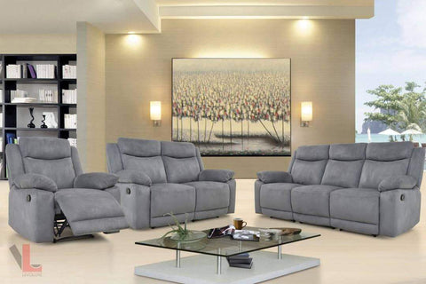 Volo Grey Reclining Sofa, Loveseat with Console, and Chair Set