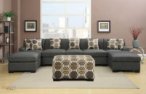 Hayward Ash Black U-Shaped Sectional Sofa Set by Urban Cali