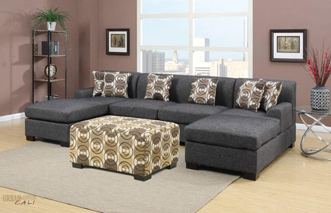 Hayward Ash Black Small U-Shaped Sectional Sofa Set by Urban Cali