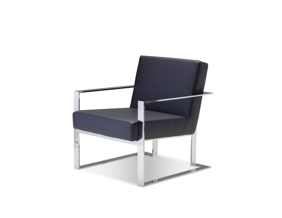 Mobital Accent Chair Motivo Arm Chair Black Leatherette with Polished Stainless Steel