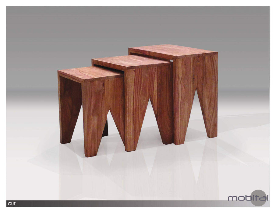 Mobital Coffee Table Cut 3 Piece Nesting Low End Table Natural Sheesham Wood