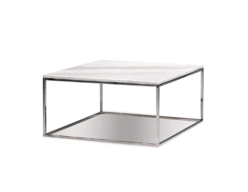 "Mobital Coffee Table Kube 30"" Square Coffee Table White Volakas Marble with Polished Stainless Steel"
