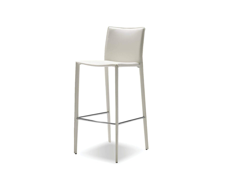 Mobital Counter Stool White Zak Counter Stool Full Leather Wrap Set of 2 - Available in 3 Colors