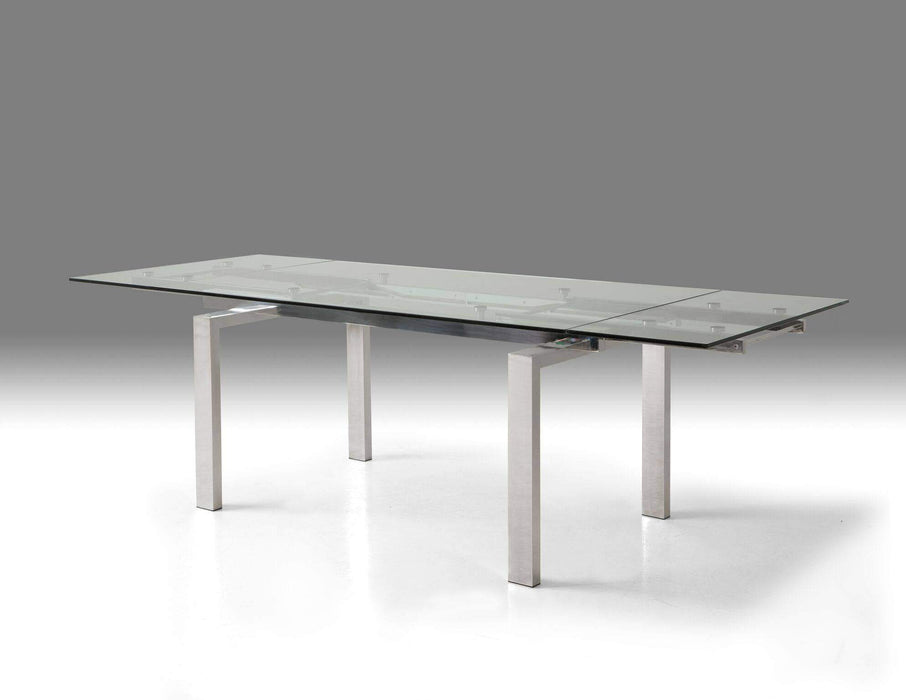 Mobital Dining Table Clear Cantro Extending Dining Table Clear Glass with Stainless Steel Features - Available in 2 Colors