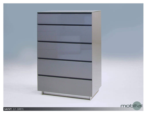 Mobital Dresser Light Grey Savvy 5-Drawer Chest High Gloss Light Grey with Glass Top - Available in 2 Colors