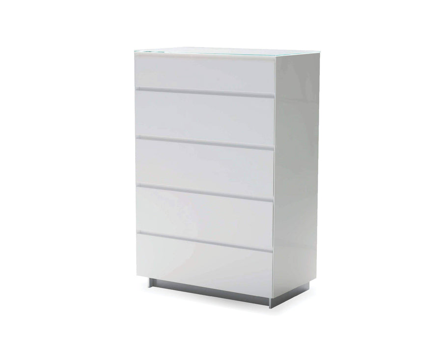 Mobital Dresser White Savvy 5-Drawer Chest High Gloss Light Grey with Glass Top - Available in 2 Colors