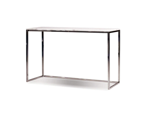 Mobital End Table Kube Sofa Table White Volakas Marble with Polished Stainless Steel