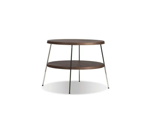 "Mobital End Table Medium 18"" Double Decker End Table American Walnut Veneer Tops with Polished Stainless Steel Frame"