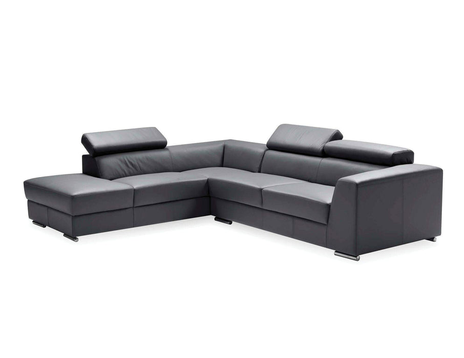 Mobital Leather Sectional Black Icon Left Hand Chaise Sectional Black Premium Leather with Side Split - Available in 3 Colors