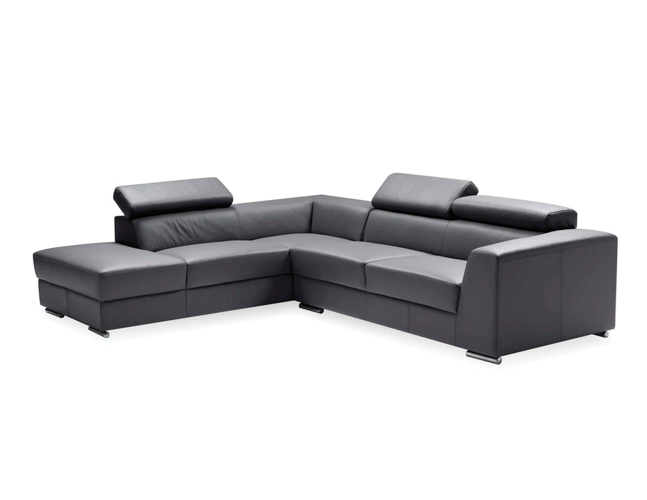 Mobital Leather Sectional Dark Grey Icon Left Hand Chaise Sectional Black Premium Leather with Side Split - Available in 3 Colors