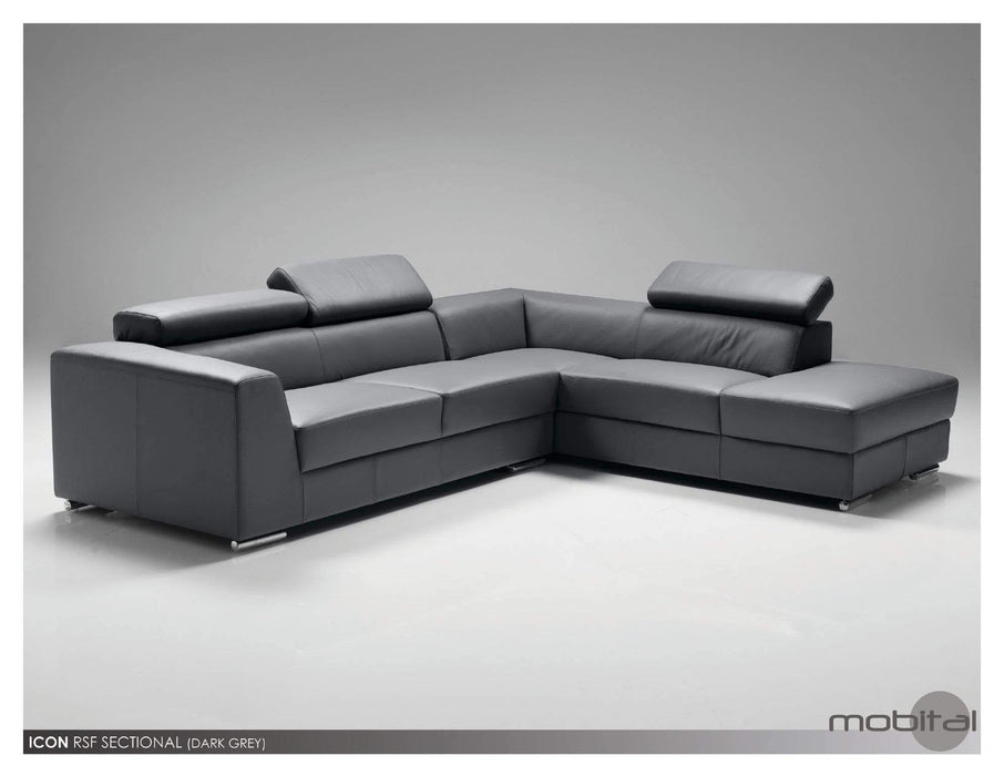 Mobital Leather Sectional Dark Grey Icon Right Facing Chaise Sectional White Premium Leather with Side Split - Available in 3 Colors