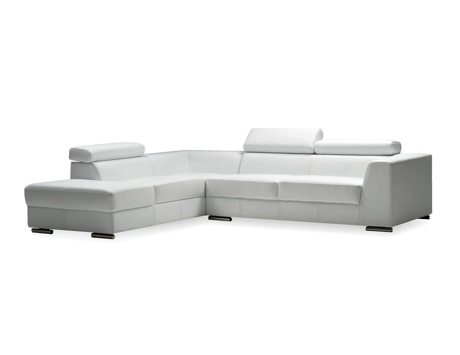 Mobital Leather Sectional White Icon Left Hand Chaise Sectional Black Premium Leather with Side Split - Available in 3 Colors
