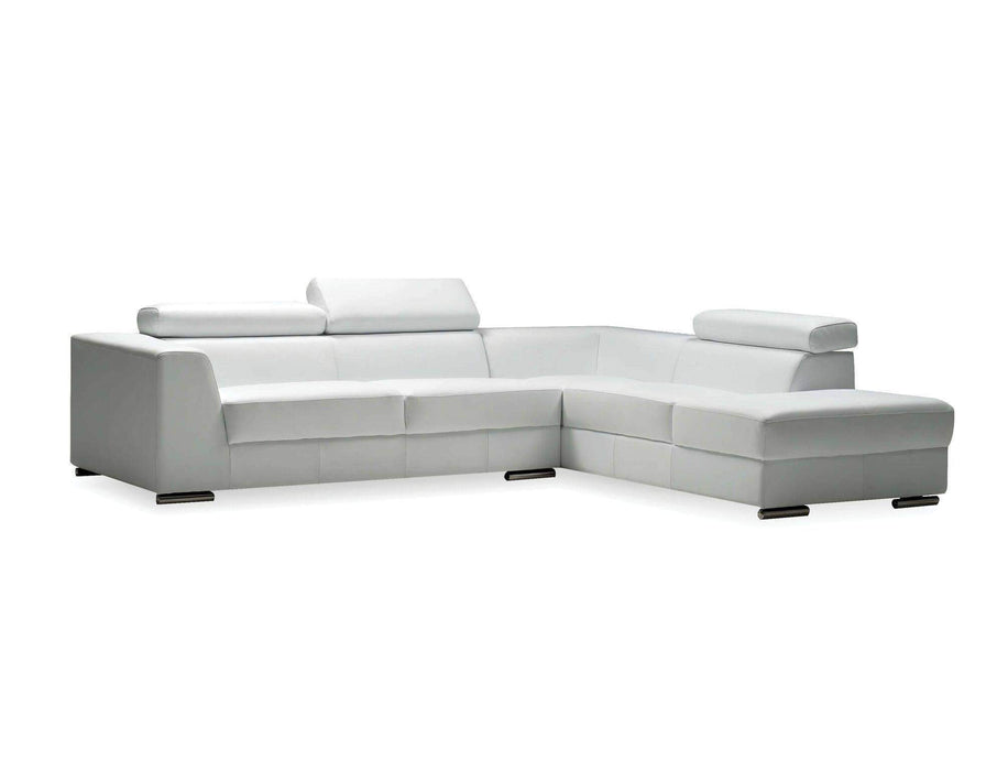 Mobital Leather Sectional White Icon Right Facing Chaise Sectional White Premium Leather with Side Split - Available in 3 Colors