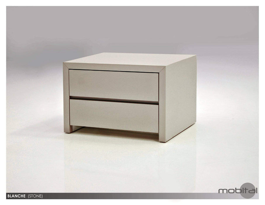 Mobital Nightstand Grey Blanche 2 Drawer Night Table High Gloss Stone - Available in 2 Colors