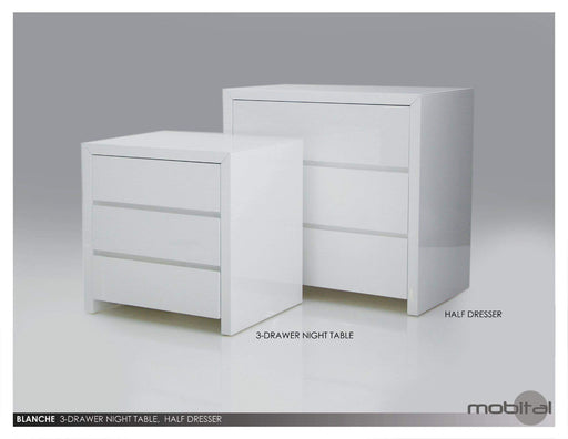Mobital Nightstand Grey Blanche 3 Drawer Night Table High Gloss Stone - Available in 2 Colors