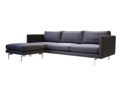 Mobital Sofa Taut 3 Seater Sofa Dark Grey Tweed Fabric with Brushed Stainless Steel Legs