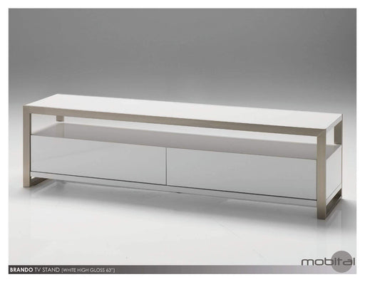 "Mobital TV Stand White / 39"" Brando TV Stand High Gloss White with Polished Stainless Steel"