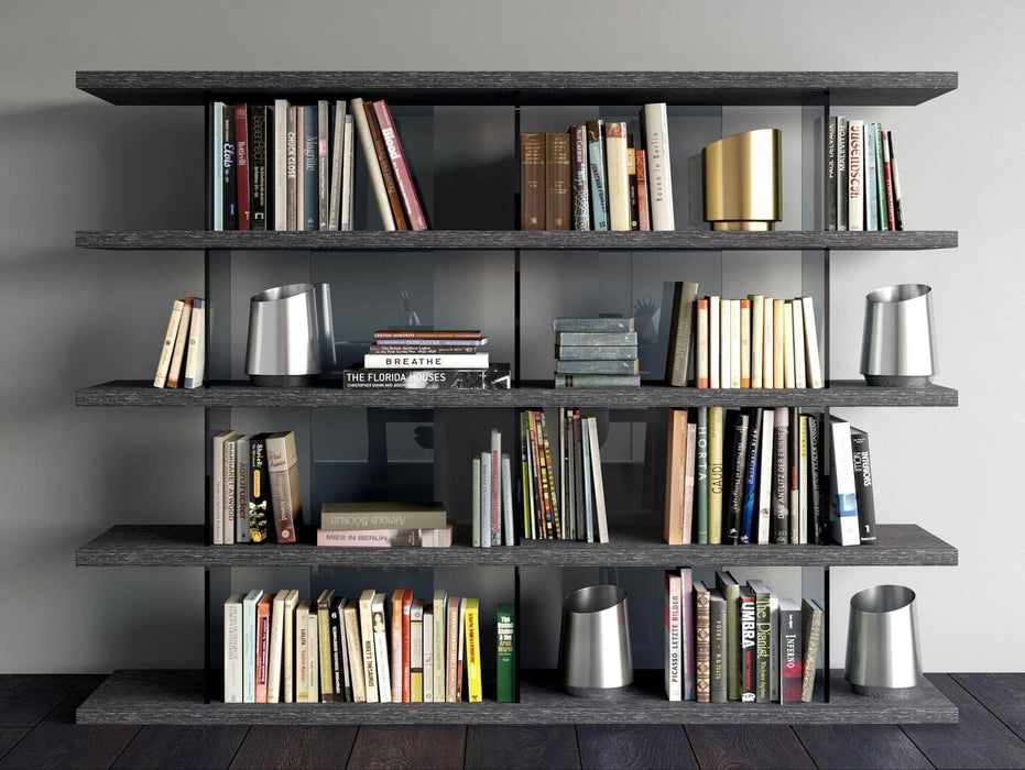 Modloft Office Glossy Dark Gull Gray Beekman Bookcase