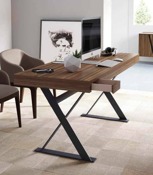Modloft Desk Barrow Desk with Two Drawers in Walnut