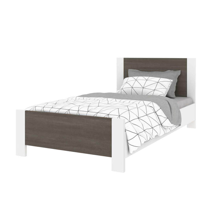 Modubox Bed Bark Grey & White Sirah Twin Platform Bed - Available in 2 Colors